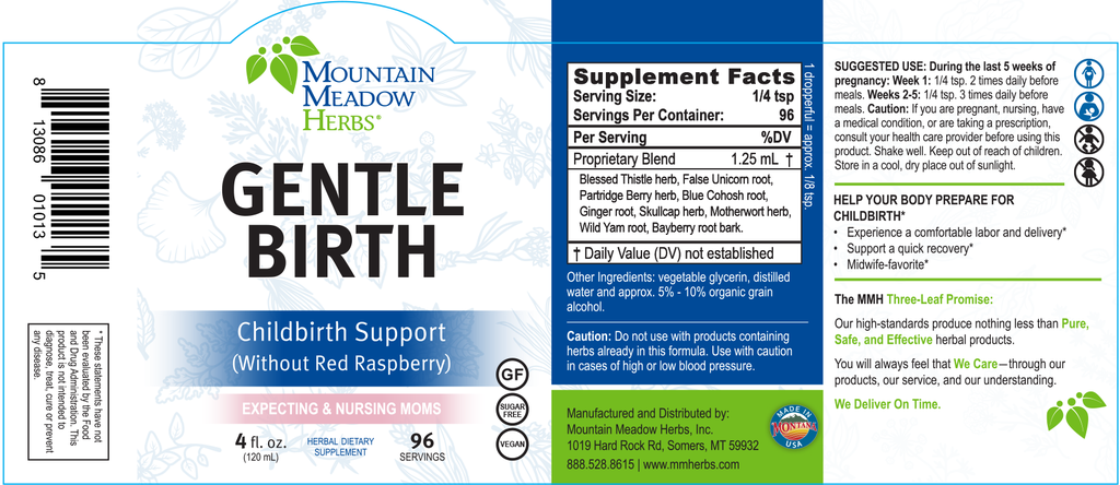 Gentle Birth Formula w/o Red Raspberry (4 oz.)